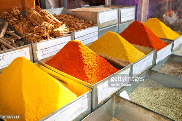Spices in a souk in Marrakech, Morocco, North Africa