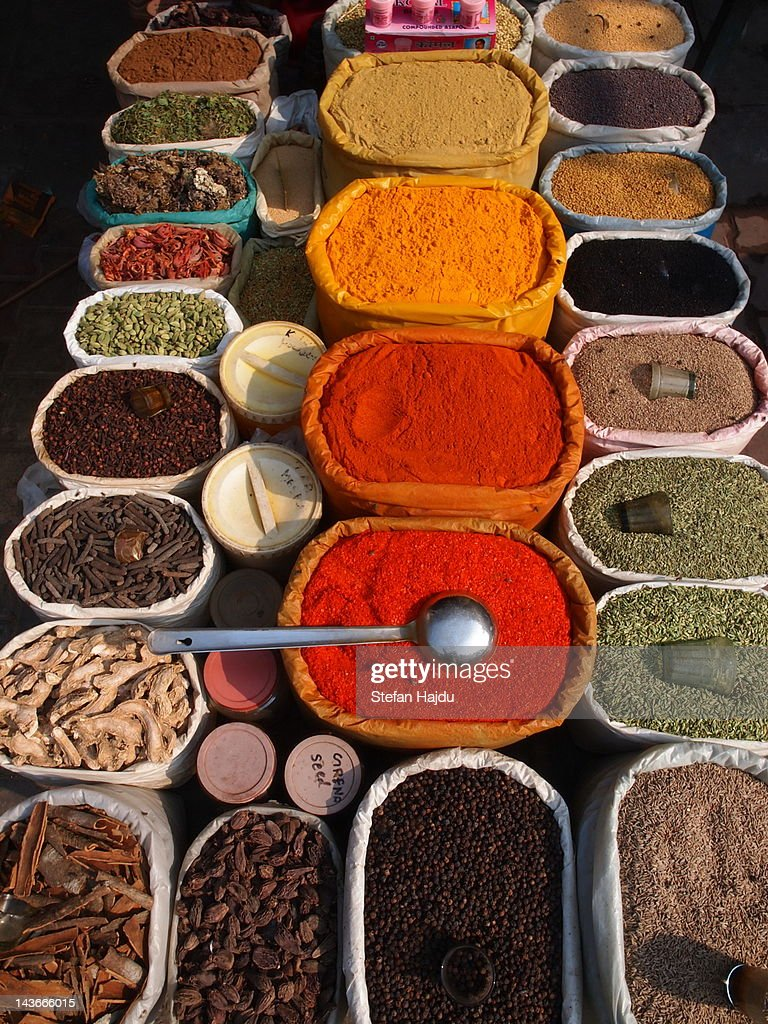 Spices in market : Stock Photo