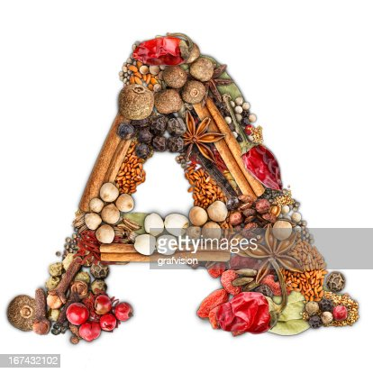 Spices letter : Stock Photo
