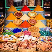 Spices on a moroccan market,Marrakesh, Morocco.