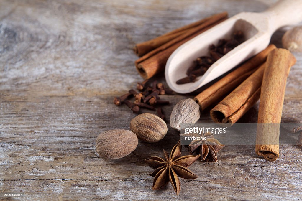 Spices on wooden background. : Stockfoto
