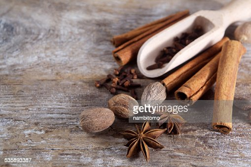 Spices on wooden background. : Stock Photo