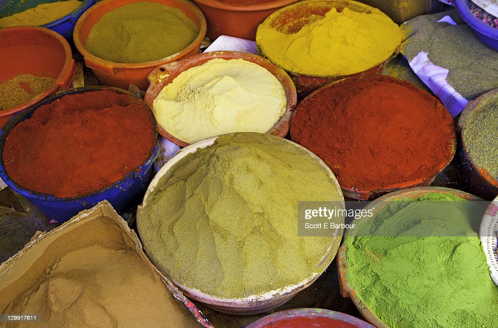 Spices outside shop in the souqs of Marrakesh : Stock Photo