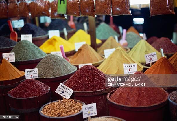 Spices shop in the Spice bazaar Egyptian bazaar Istanbul Turkey