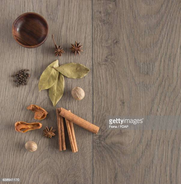 Spices with empty bowl