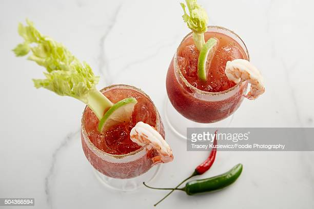 Spicy bloody Ceasars with sprimp