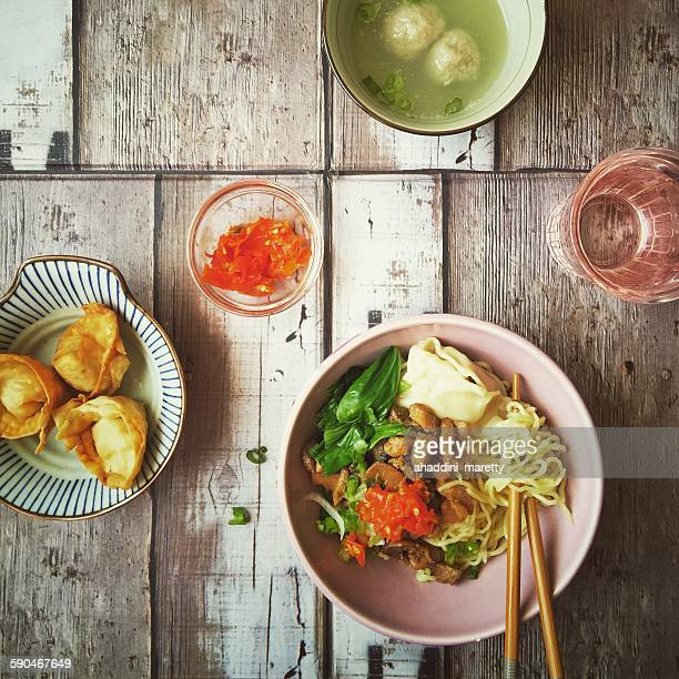 Spicy chicken noodles (mie ayam)