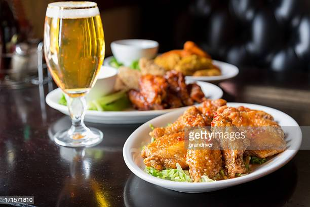 Spicy Chicken Wings and Beer