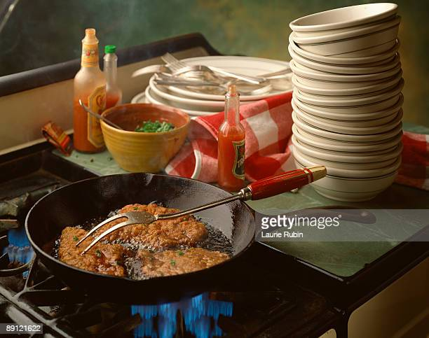 Spicy food on frying pan