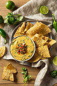 Spicy Homemade Cheesey Queso Dip with Tortilla Chips