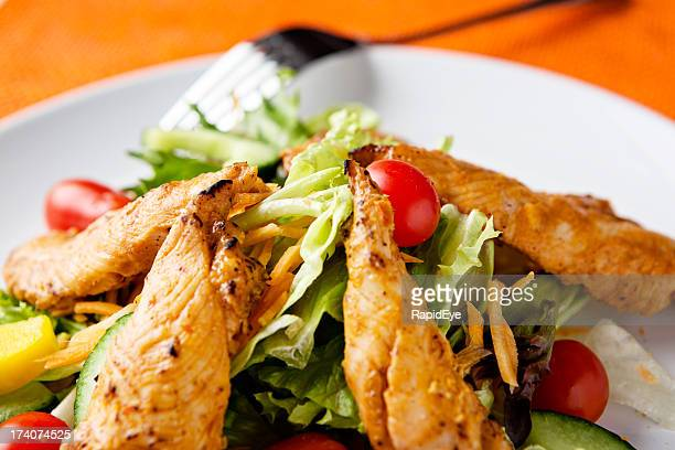 Spicy low-carbohydrate meal of grilled Tandoori chicken and salad