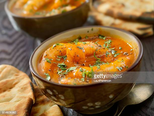 Spicy Red Curry Soup with Shrimp and Naan Bread