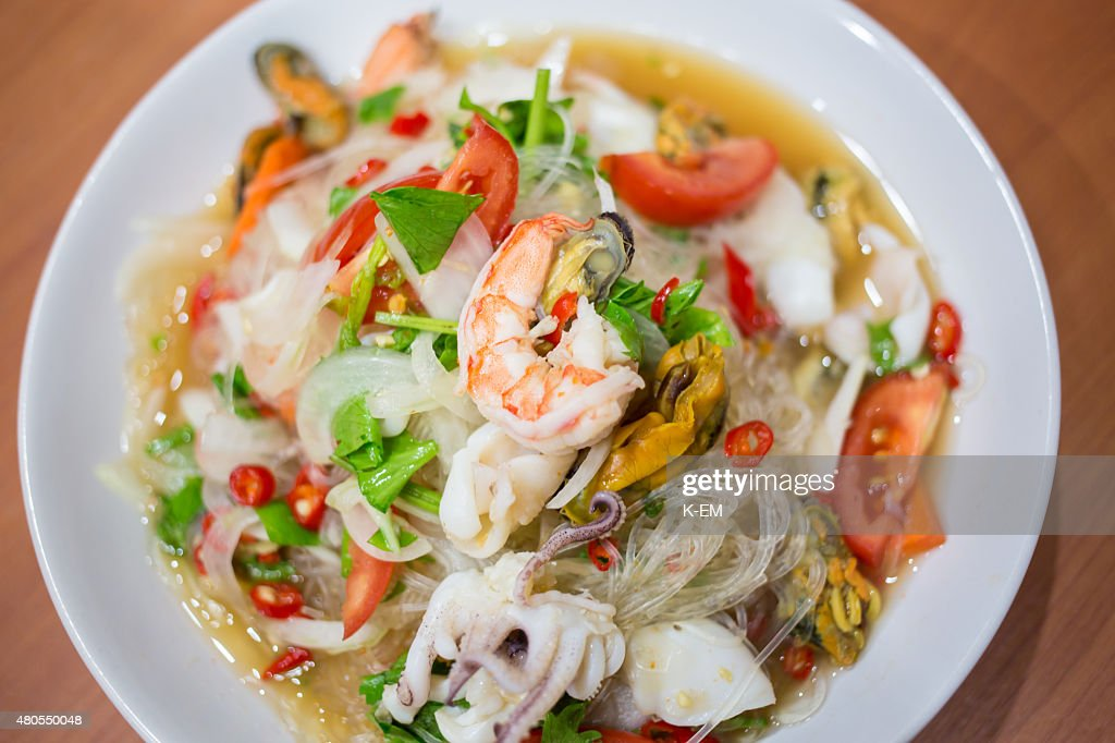 Spicy Shrimp with Squid Salad (Thai food) : Stock Photo