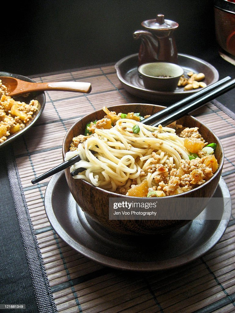 Spicy sichuan noodles : Stock Photo