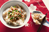 Spicy wonton with peanut butter sauce