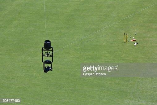 Spider camera over cricket field