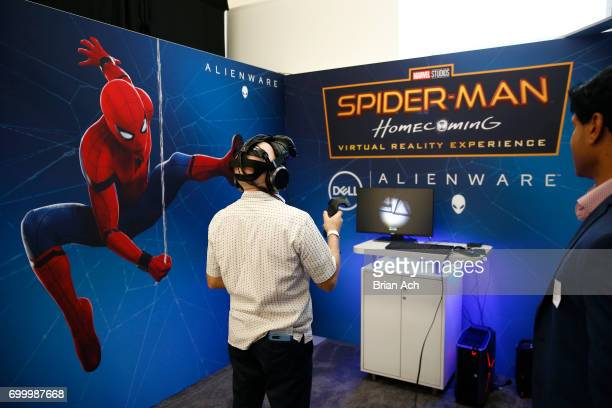 Spider Man Alienware display during day one of The Art of VR at Sotheby's on June 22 2017 in New York City