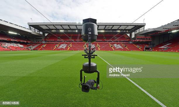 Spidercam at the Premier League match between Liverpool and Arsenal at Anfield on August 27 2017 in Liverpool England
