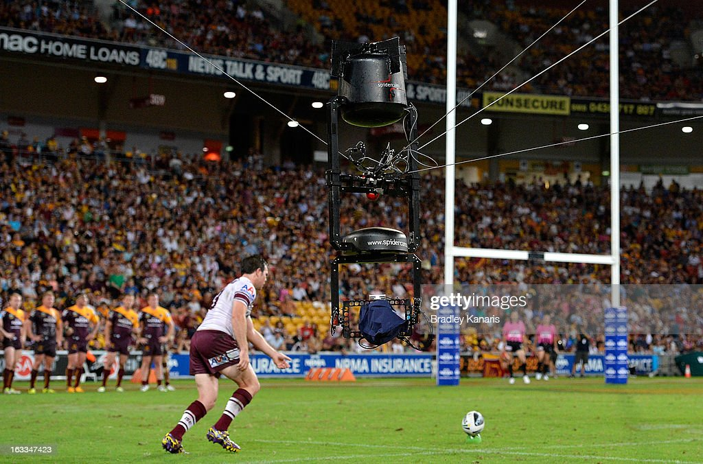 Spidercam can be seen as Jamie Lyon kicks for goal during the round one NRL match between the Brisbane Broncos and the Manly Warringah Sea Eagles at Suncorp Stadium on March 8, 2013 in Brisbane, Australia.