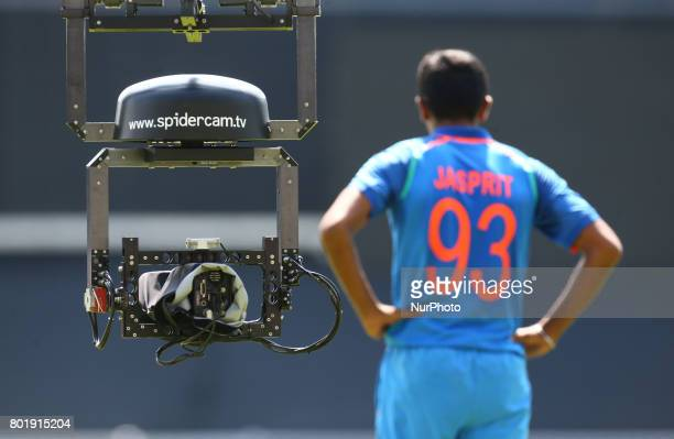 Spidercam during the ICC Champions Trophy Final match between India and Pakistan at The Oval in London on June 18 2017