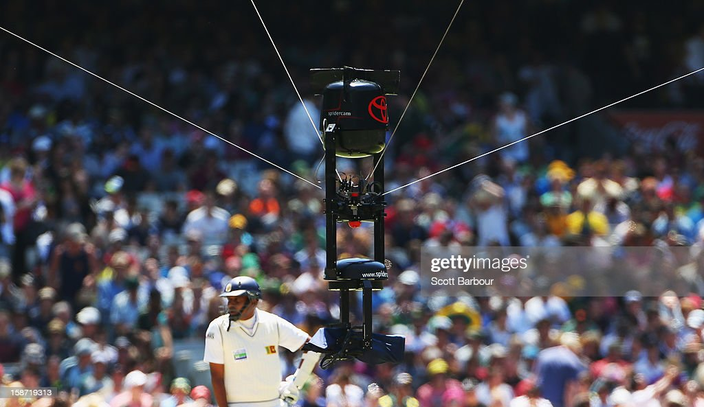 Spidercam hovers above the field during day one of the Second Test match between Australia and Sri Lanka at Melbourne Cricket Ground on December 26...