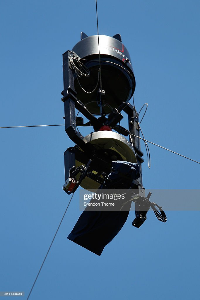 Spidercam hovers above the field of play during day three of the Fourth Test match between Australia and India at Sydney Cricket Ground on January 8...