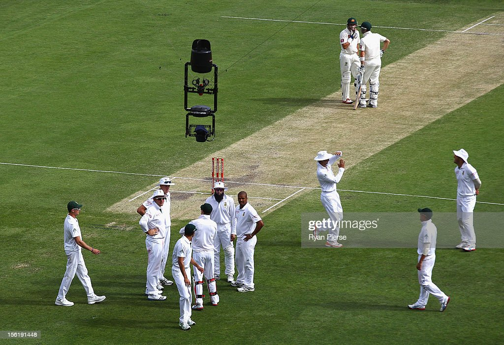 Spidercam is seen above the players during day four of the First Test match between Australia and South Africa at The Gabba on November 12 2012 in...