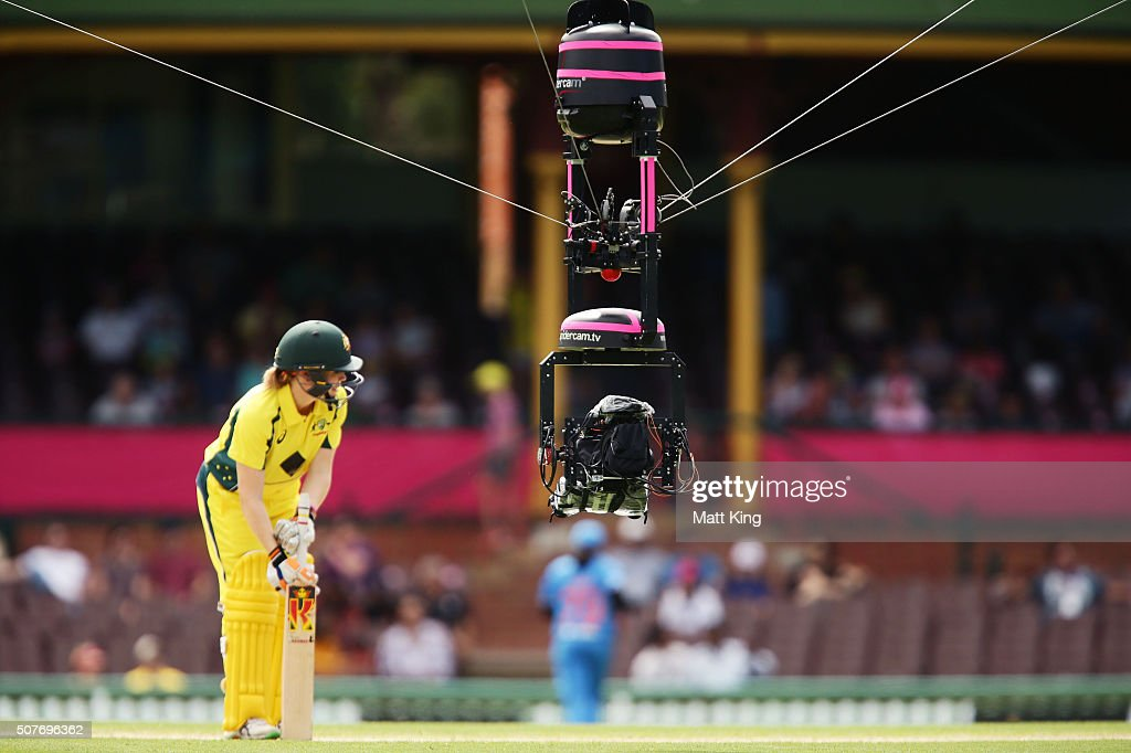 Spidercam is seen as Alex Blackwell of Australia prepares to batt during the International Twenty20 match between Australia and India at Sydney...