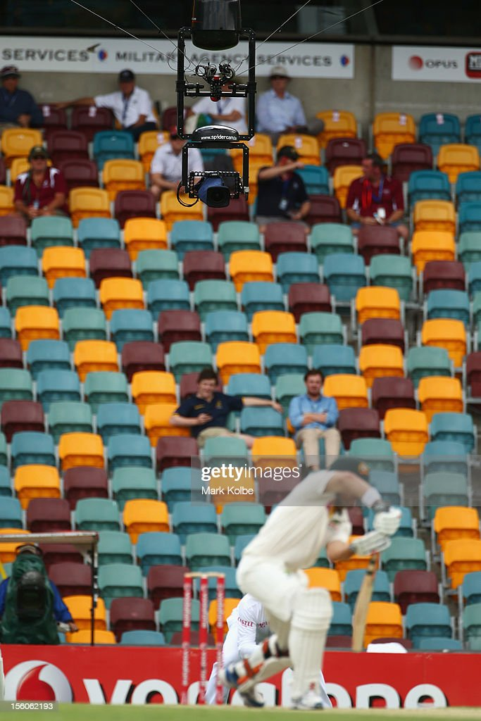 'Spidercam' is seen as Ed Cowan of Australia bats during day four of the First Test match between Australia and South Africa at The Gabba on November...