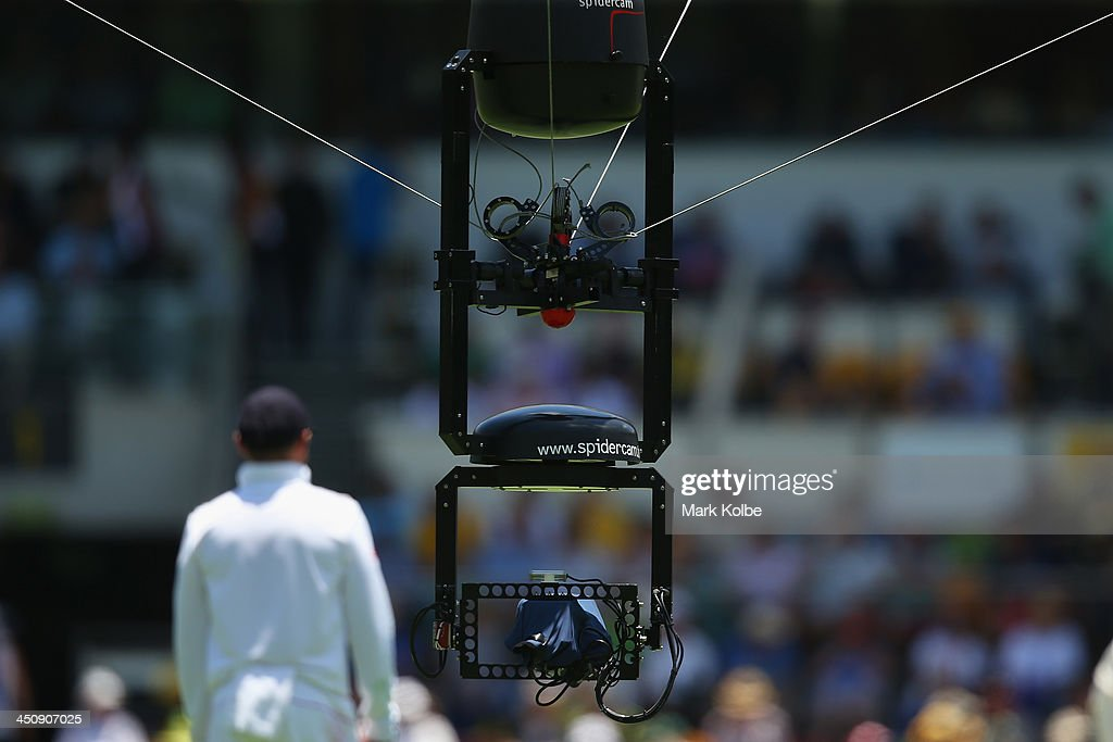 Spidercam is seen during day one of the First Ashes Test match between Australia and England at The Gabba on November 21 2013 in Brisbane Australia