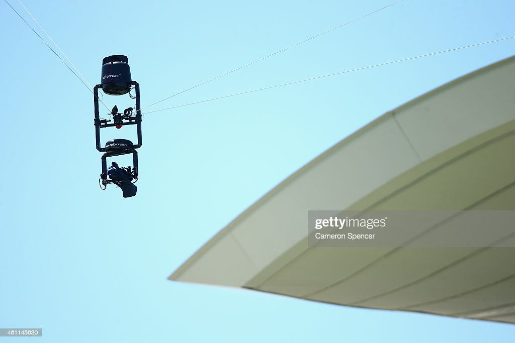 Spidercam is seen during day three of the Fourth Test match between Australia and India at Sydney Cricket Ground on January 8 2015 in Sydney Australia