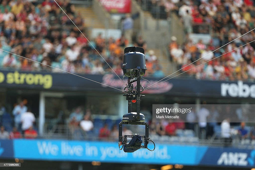 Spidercam is seen during the round one NRL match between the St George Illawarra Dragons and the Wests Tigers at ANZ Stadium on March 9 2014 in...