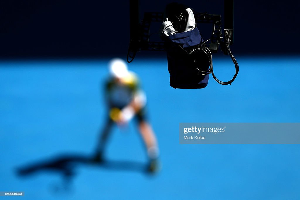 Spidercam moves into position as Andy Murray of Great Britain prepares to serve in his Quarterfinal match against Jeremy Chardy of France during day ten of the 2013 Australian Open at Melbourne Park on January 23, 2013 in Melbourne, Australia.