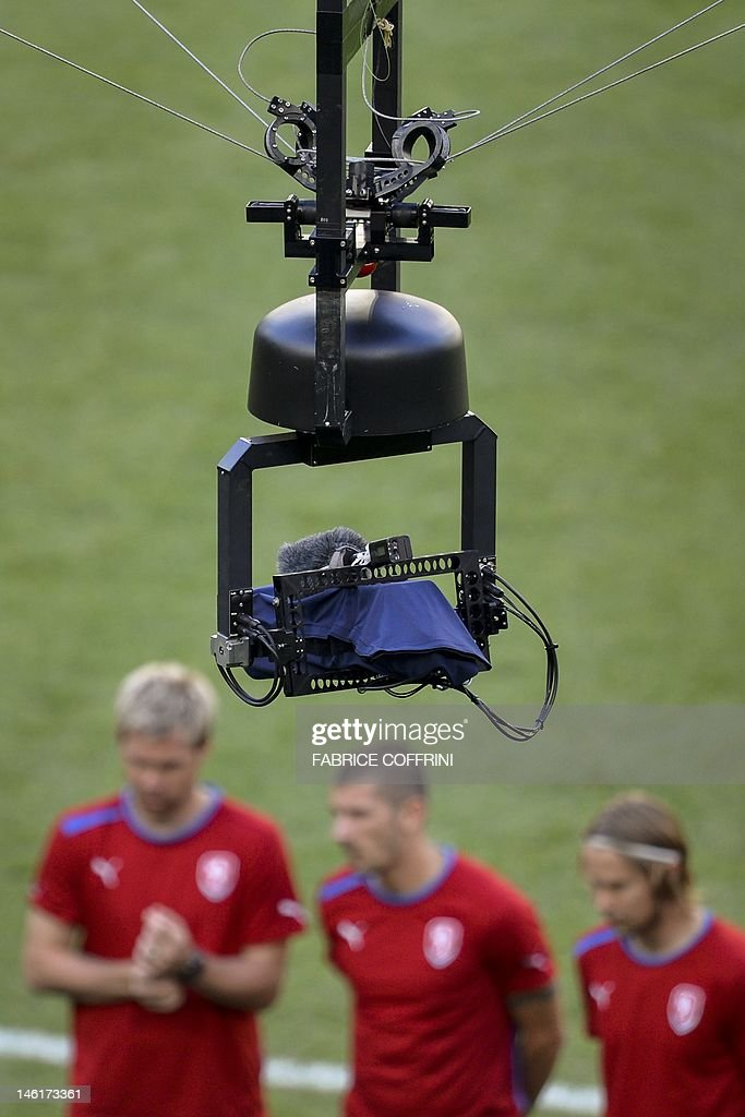 A spidercam operate above Czech players during a training session on June 11 at the Municipal Stadium in Wroclaw on the eve of their Euro 2012...