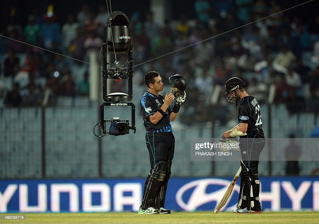 A spidercam records footage of New Zealand batsman Ross Taylor and Kane Williamson during the ICC World Twenty20 tournament cricket match between...