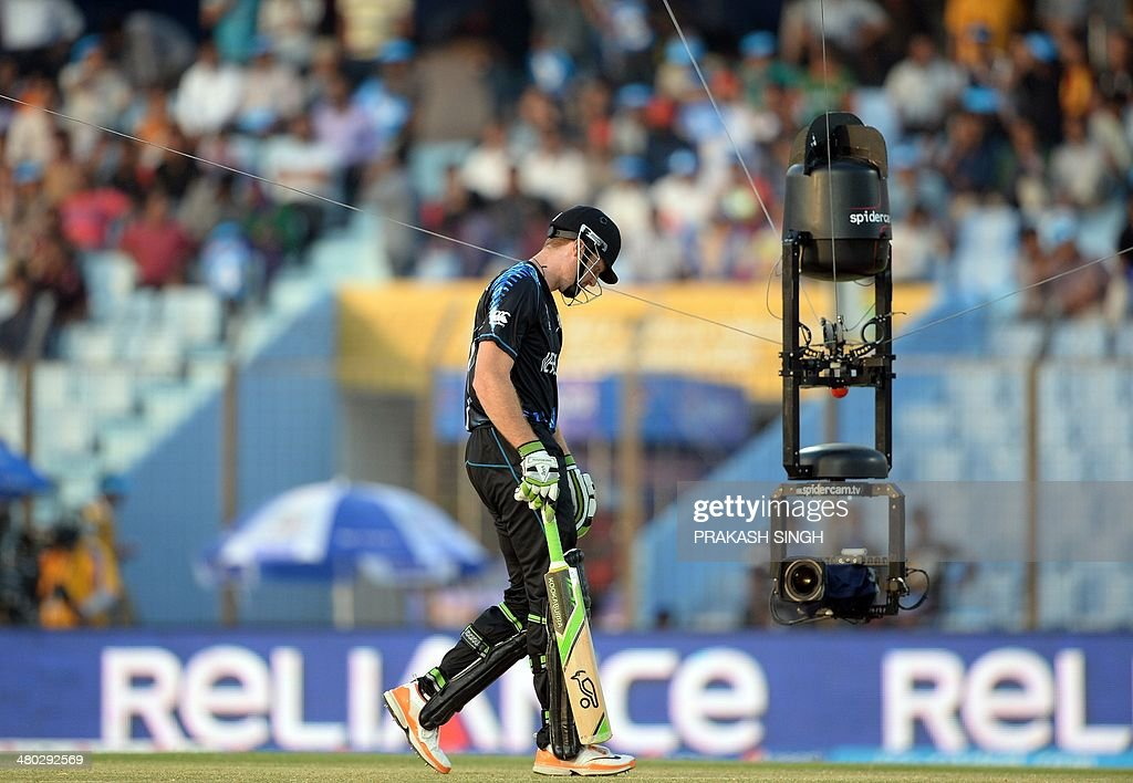A spidercam shoots as New Zealand batsman Martin Guptill prepares to bat during the ICC World Twenty20 tournament cricket match between South Africa...