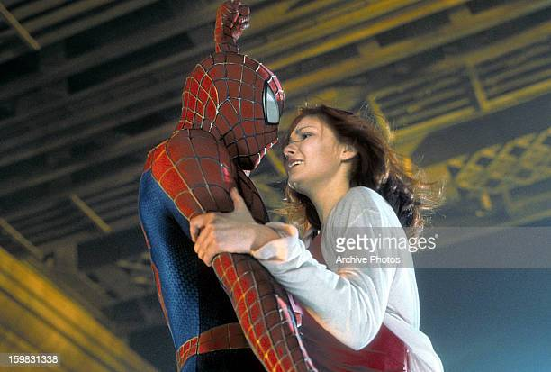 Spiderman and Kirsten Dunst in a scene from the film 'Spiderman' 2002