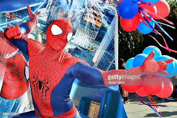 SpiderMan attends Larchmont Charter School celebrates 'The Amazing SpiderMan 2' at Be Amazing Day at Larchmont Charter School at Fairfax on April 22...