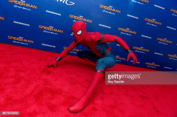 Spiderman attends 'Spiderman Homecoming' New York First Responders' screening at Henry R Luce Auditorium at Brookfield Place on June 26 2017 in New...