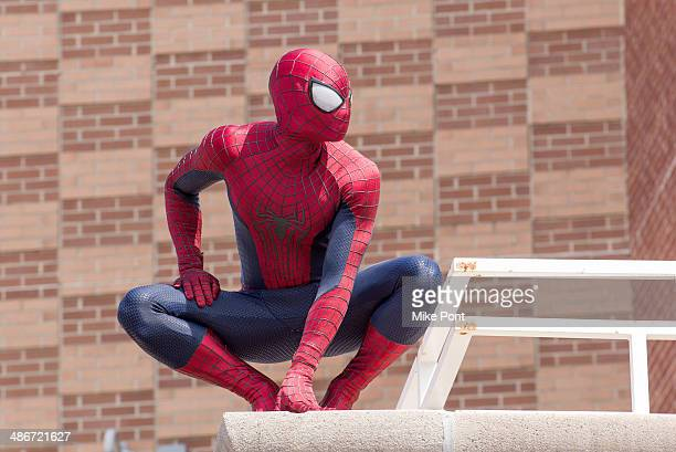 Spiderman attends 'The Amazing SpiderMan 2' Be Amazing Day Volunteer Day at IS 145 Joseph Pulitzer on April 25 2014 in the Queens borough of New York...