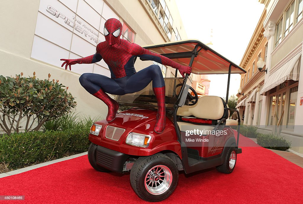 Spiderman attends 'The Amazing Spiderman' fan event at Sony Pictures Studios on November 16, 2013 in Culver City, California.