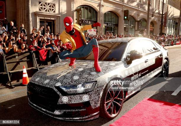 Spiderman attends the premiere of Columbia Pictures' 'SpiderMan Homecoming' at TCL Chinese Theatre on June 28 2017 in Hollywood California