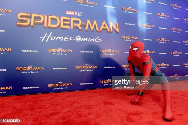 Spiderman attends the 'Spiderman Homecoming' New York First Responders' Screening at Henry R Luce Auditorium at Brookfield Place on June 26 2017 in...
