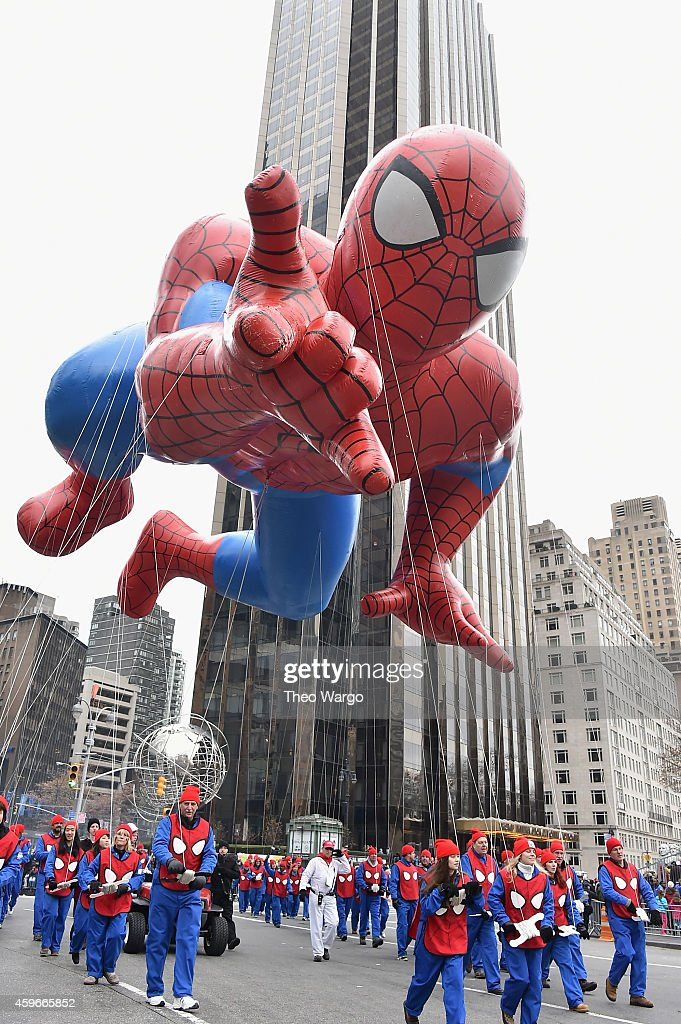 Spiderman balloon during the 88th Annual Macy's Thanksgiving Day Parade on November 27 2014 in New York City