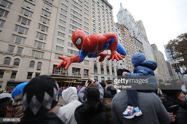 Spiderman balloon floats at the 88th Annual Macy's Thanksgiving Day on November 27 2014 in New York City