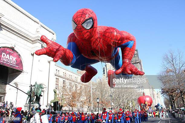 Spiderman balloon floats in the 87th Annual Macy's Thanksgiving Day Parade on November 28 2013 in New York City