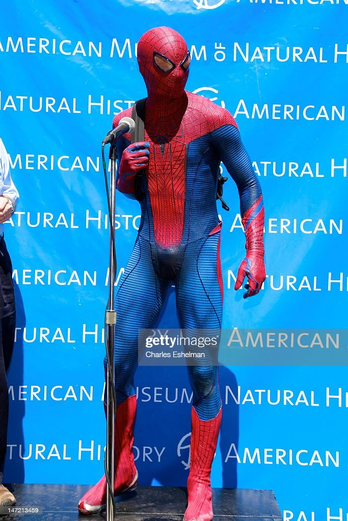 Spider-Man delivers a Chilean Rose Tarantula to the American Museum of Natural History on June 27, 2012 in New York City.