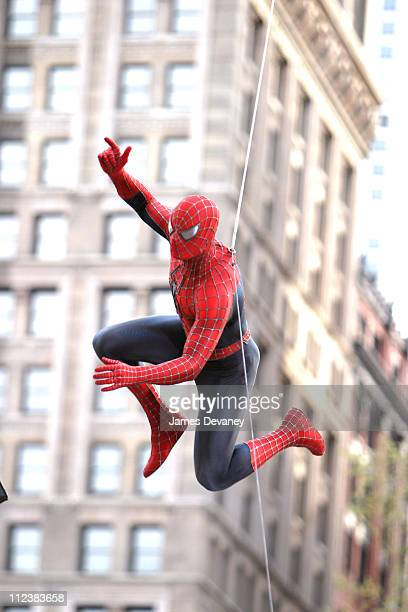 SpiderMan during Filming of 'SpiderMan 2' on Location in Lower Manhattan at Lower Manhattan in New York City New York United States