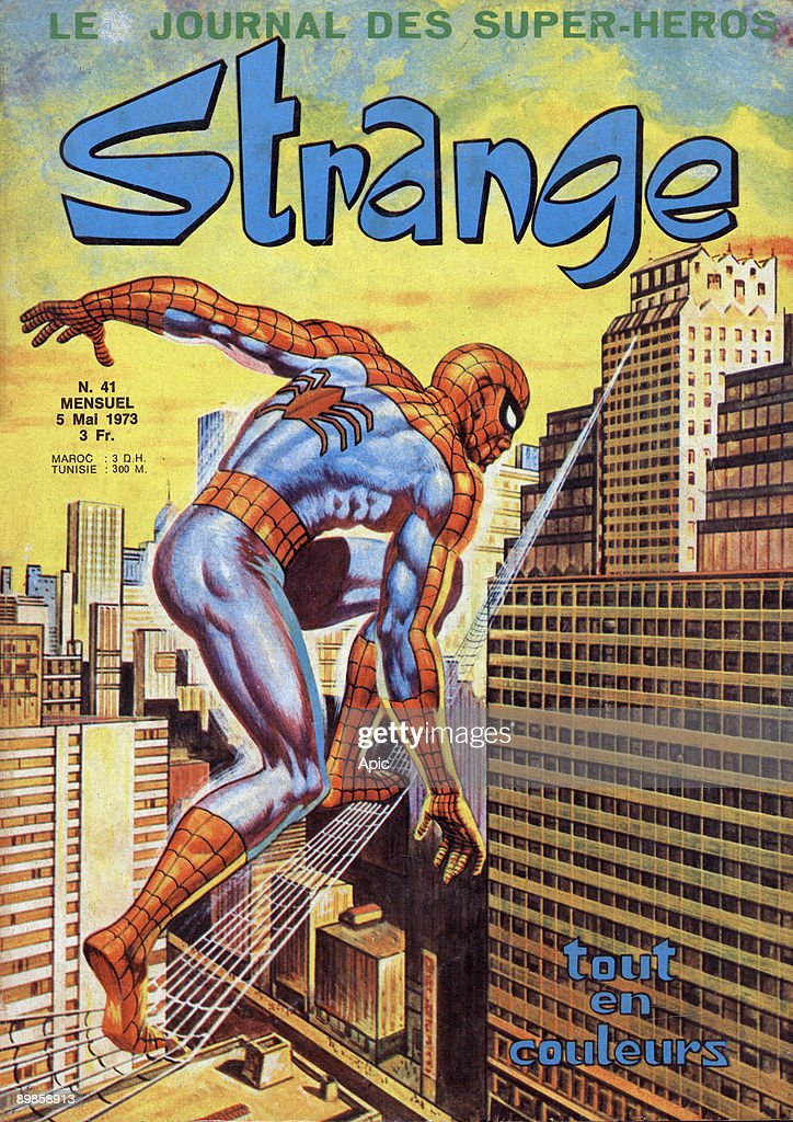 Spiderman features on the cover of the French comic strip magazine Strange, published 5th May 1973.