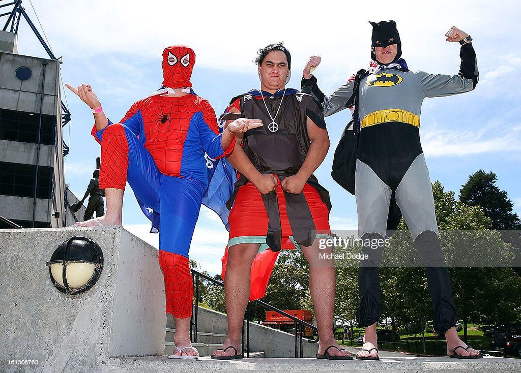 Spiderman, Gladiator and Batman turned up for the dress up day during game five of the Commonwealth Bank International Series between Australia and the West Indies at Melbourne Cricket Ground on February 10, 2013 in Melbourne, Australia.